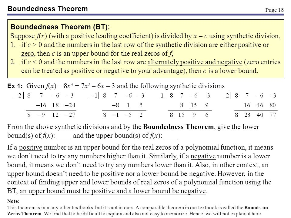 Boundedness Theorem (BT):