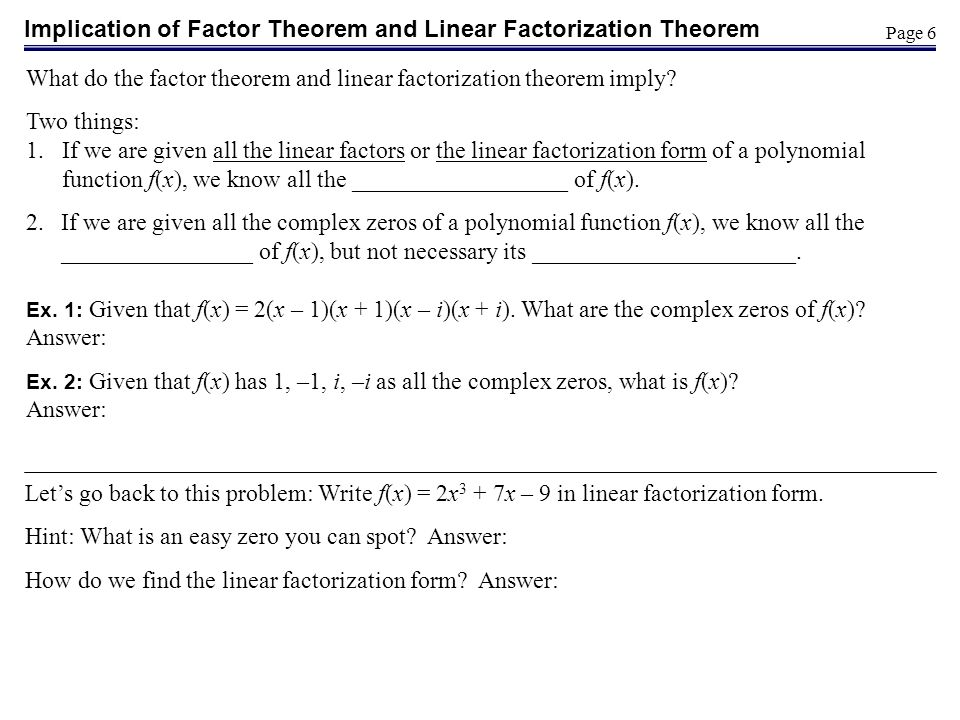 Implication of Factor Theorem and Linear Factorization Theorem