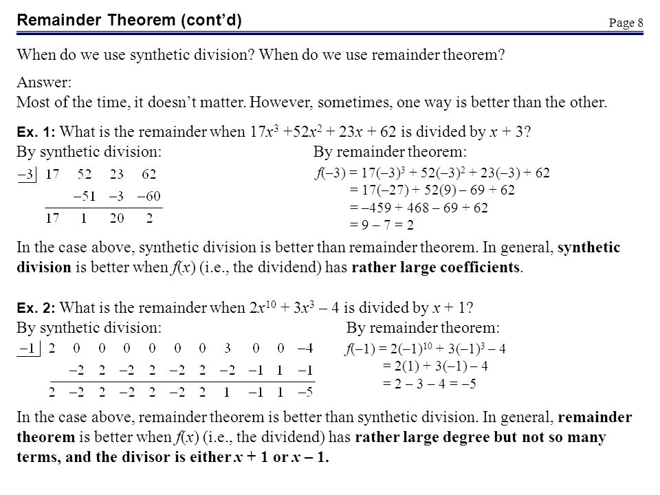 Remainder Theorem (cont'd)