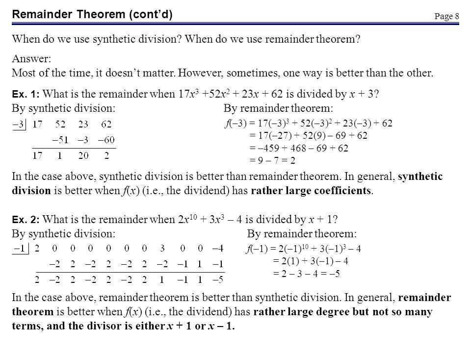 Remainder Theorem (cont'd)