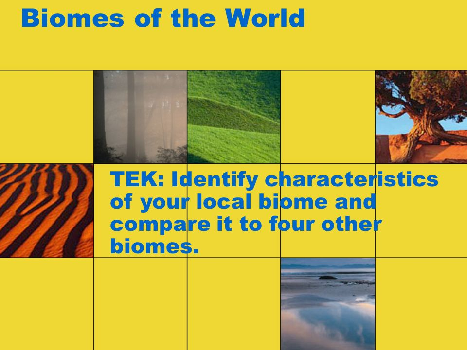 Biomes of the World TEK: Identify characteristics of your local biome and compare it to four other biomes.