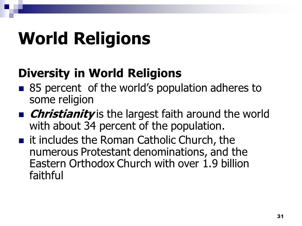 the diversity in the religion of christianity Ical context, this essay focuses on religious diversity within societies  christian  divide is thought to have prompted destabilizing religious compe- tition and to.