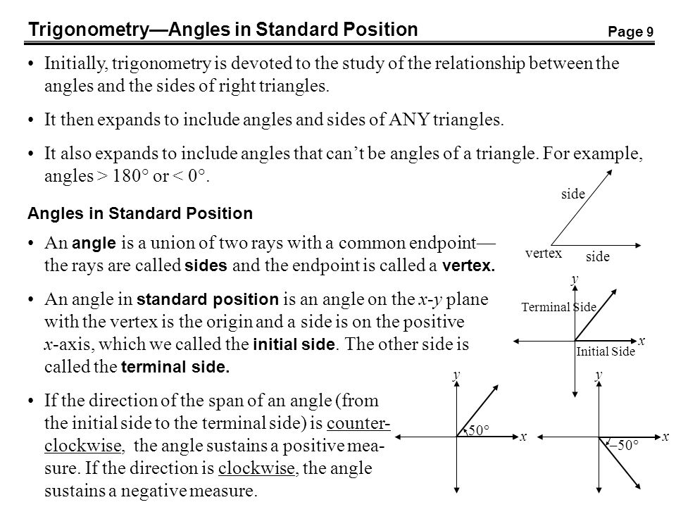 Trigonometry—Angles in Standard Position