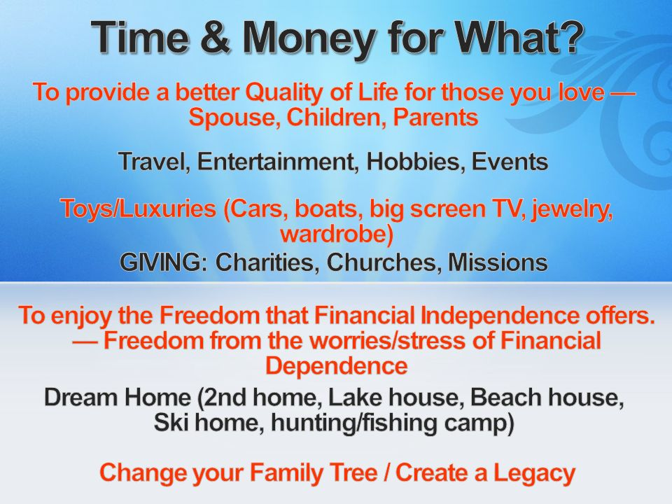Time & Money for What To provide a better Quality of Life for those you love — Spouse, Children, Parents.