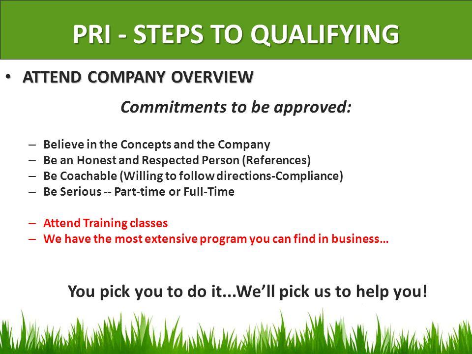 PRI - STEPS TO QUALIFYING