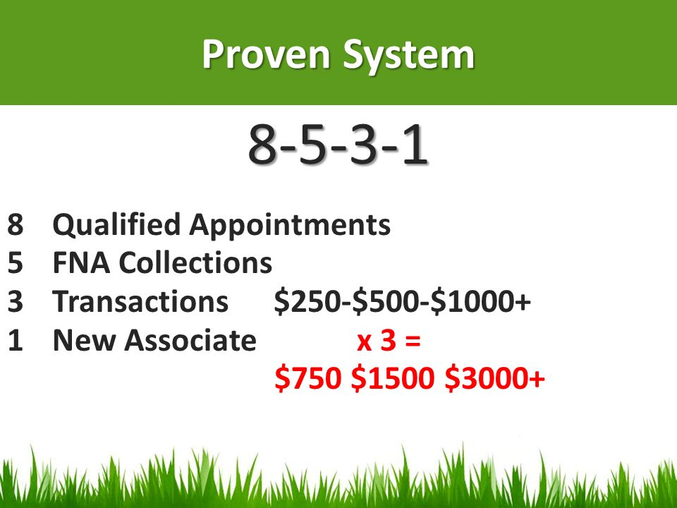 8-5-3-1 Proven System Qualified Appointments FNA Collections