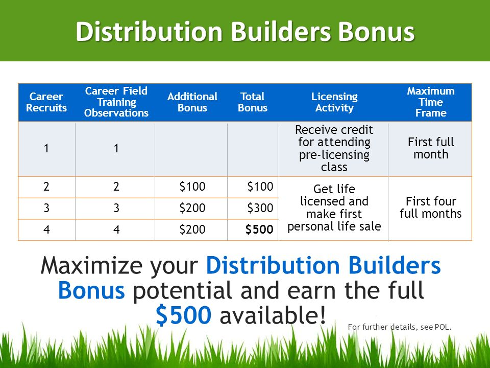 Distribution Builders Bonus