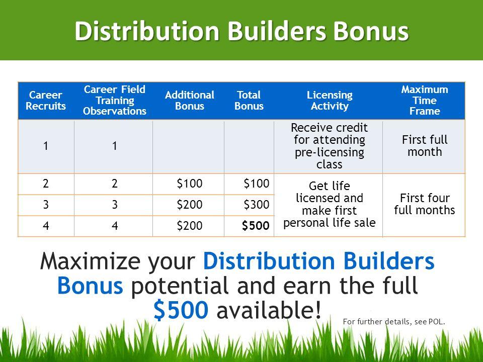 Distribution Builders Bonus