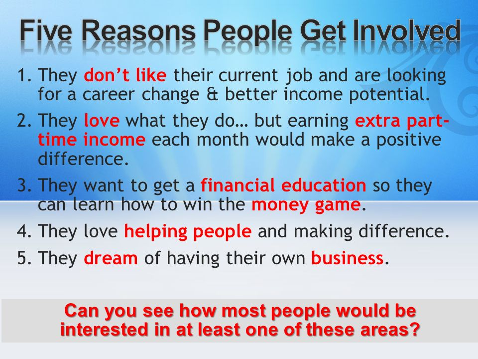 Five Reasons People Get Involved