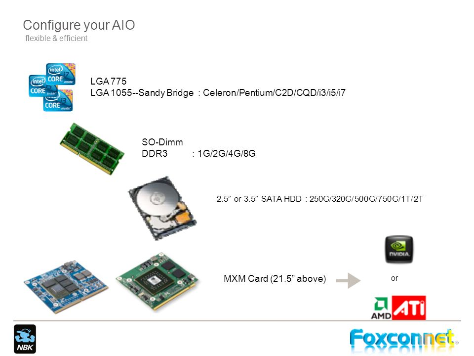 Configure your AIO flexible & efficient. LGA 775. LGA Sandy Bridge : Celeron/Pentium/C2D/CQD/i3/i5/i7.