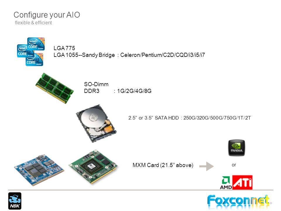 Configure your AIO flexible & efficient. LGA 775. LGA 1055--Sandy Bridge : Celeron/Pentium/C2D/CQD/i3/i5/i7.