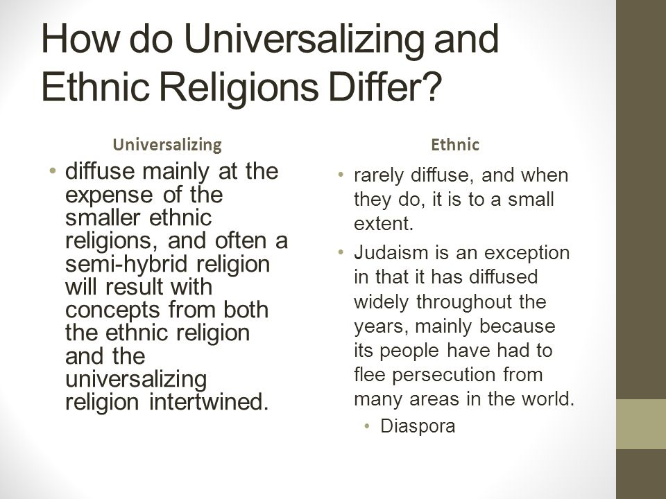 universalizing religions Geographers focus on the patterns and diffusion of religions universalizing religions a universalizing religion is one that claims applicability to all humans and seeks converts - it has open membership and no one is excluded because of nationality, ethnicity, or previous religious belief • christianity • islam.