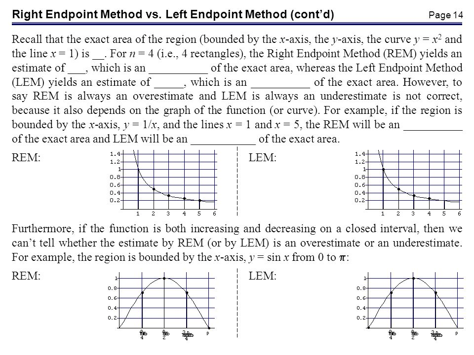 Right Endpoint Method vs. Left Endpoint Method (cont'd)