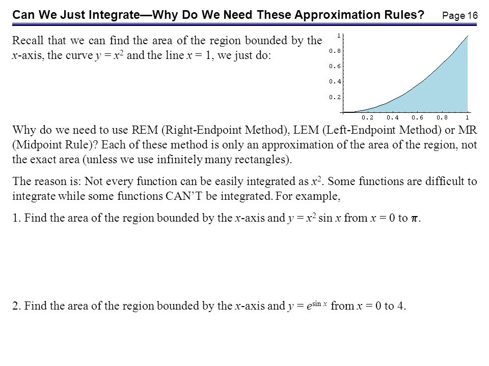Can We Just Integrate—Why Do We Need These Approximation Rules