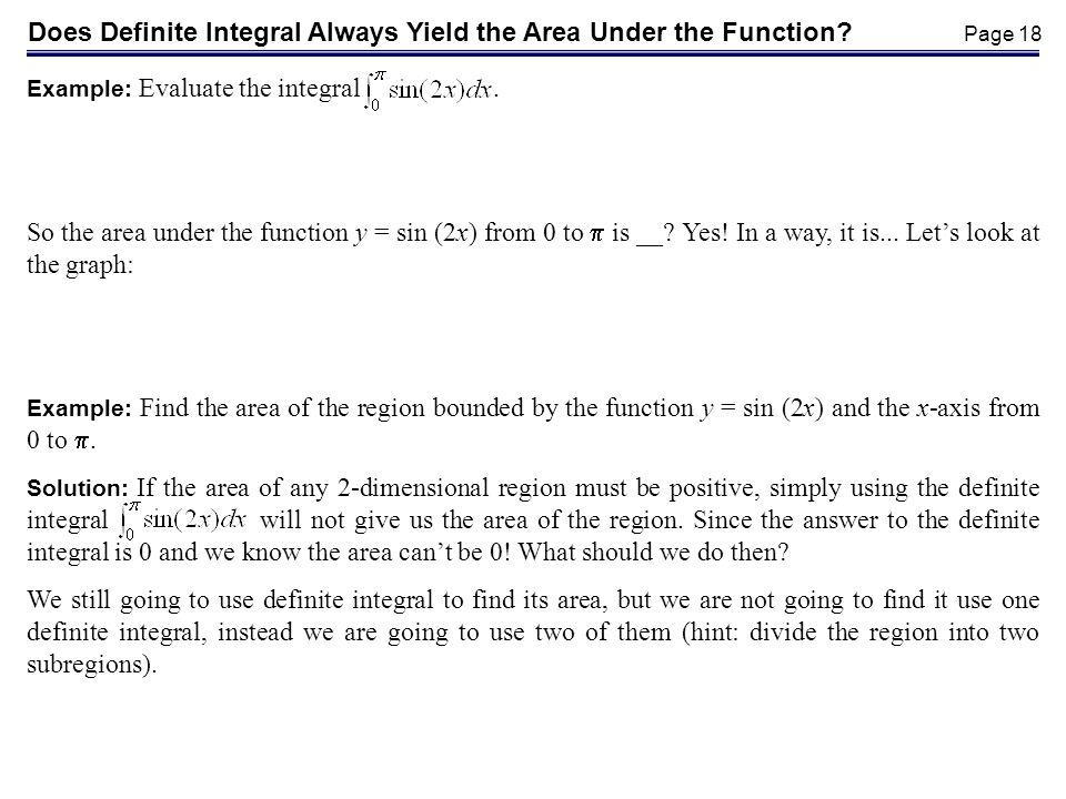 Does Definite Integral Always Yield the Area Under the Function