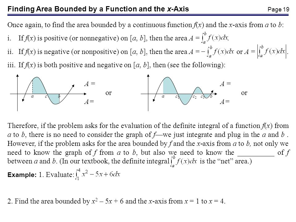 Finding Area Bounded by a Function and the x-Axis