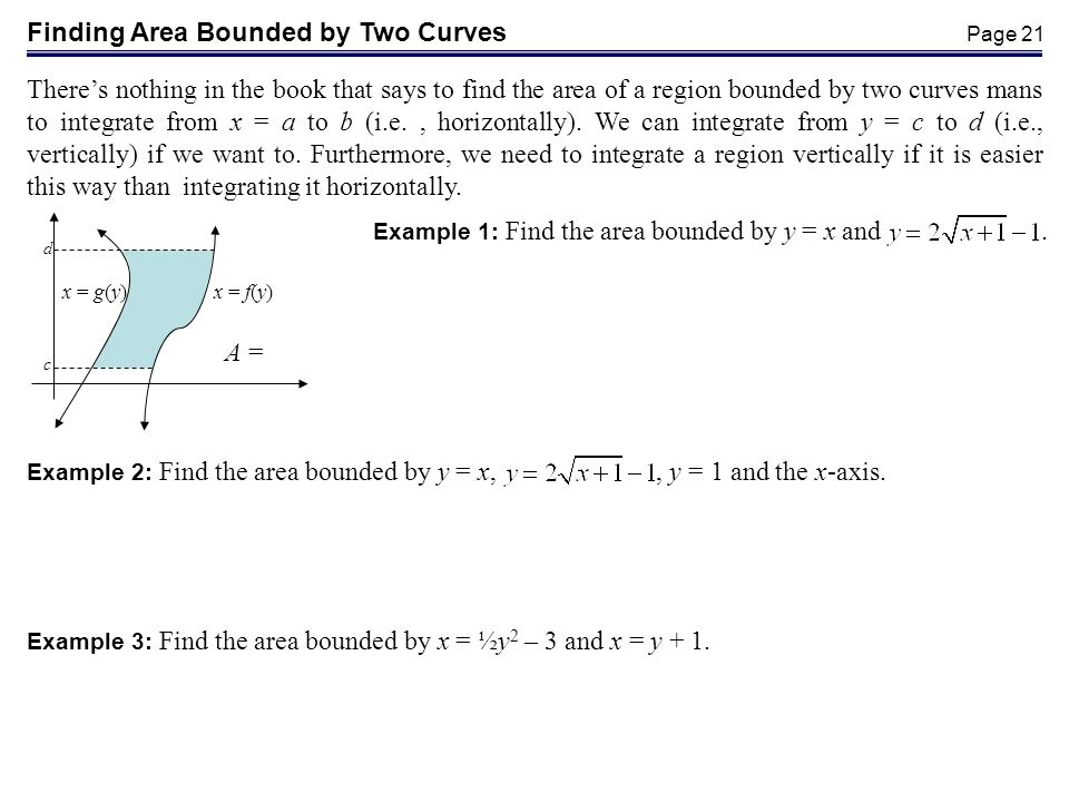 Finding Area Bounded by Two Curves