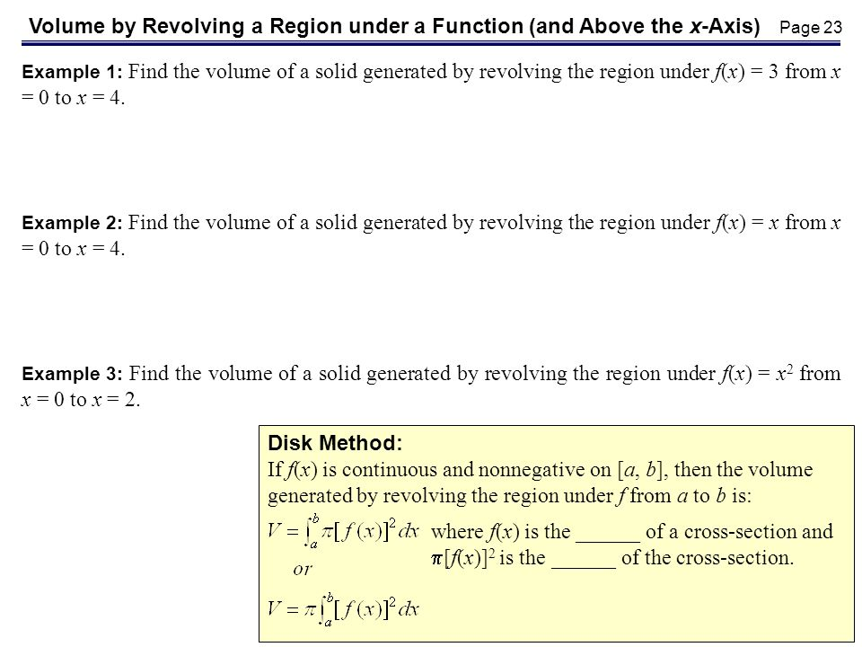 Volume by Revolving a Region under a Function (and Above the x-Axis)