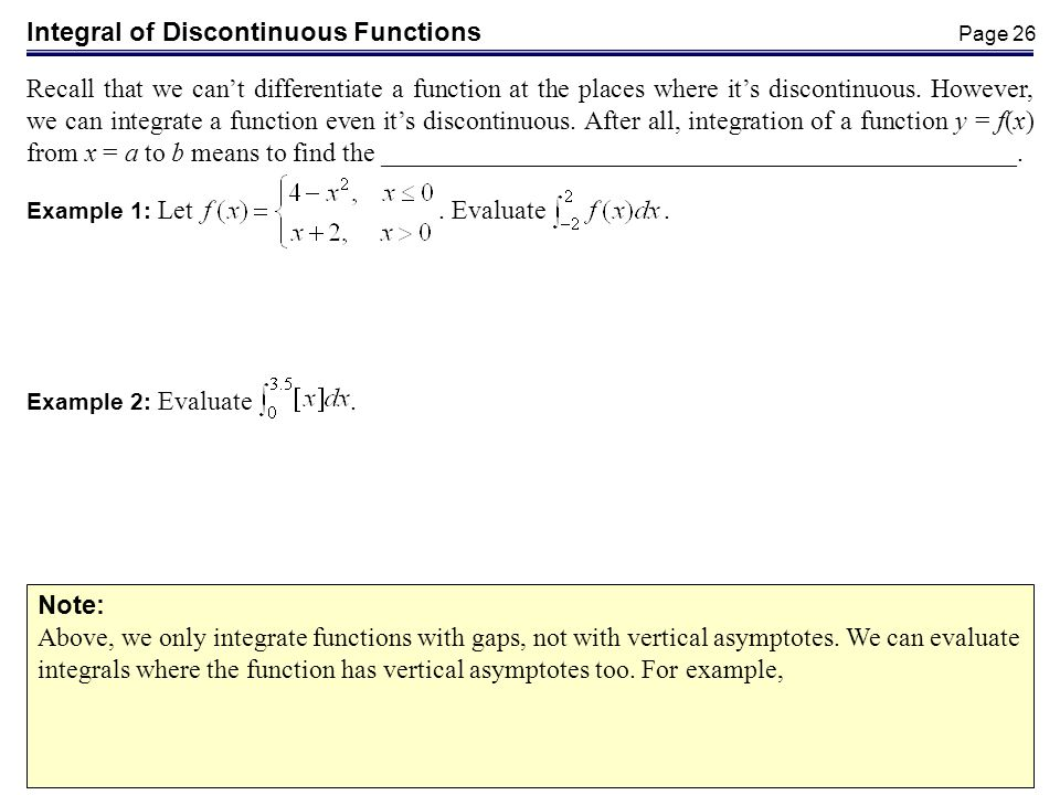 Integral of Discontinuous Functions