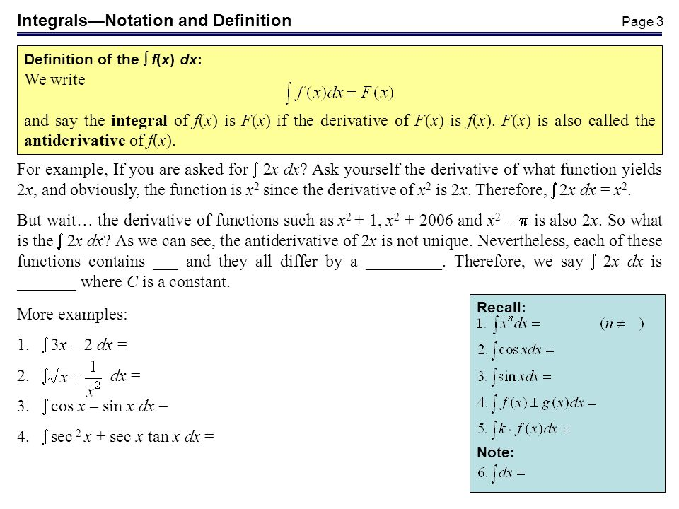 Integrals—Notation and Definition