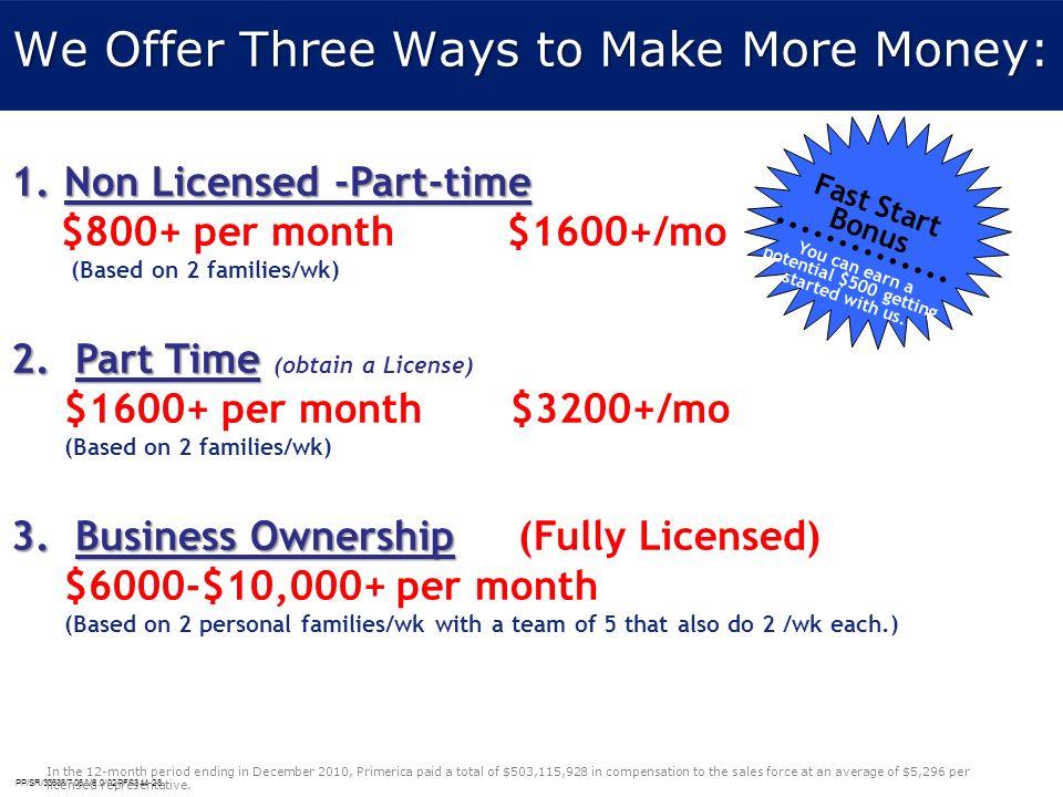 We Offer Three Ways to Make More Money: