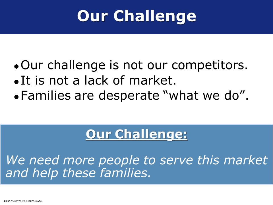 Our Challenge Our challenge is not our competitors.