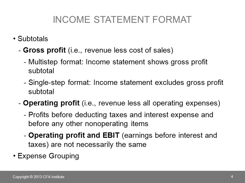 income statement shows the true profit =gross profit less: selling and administrative expenses =operating income this is called the traditional format income statement later on in the course,.
