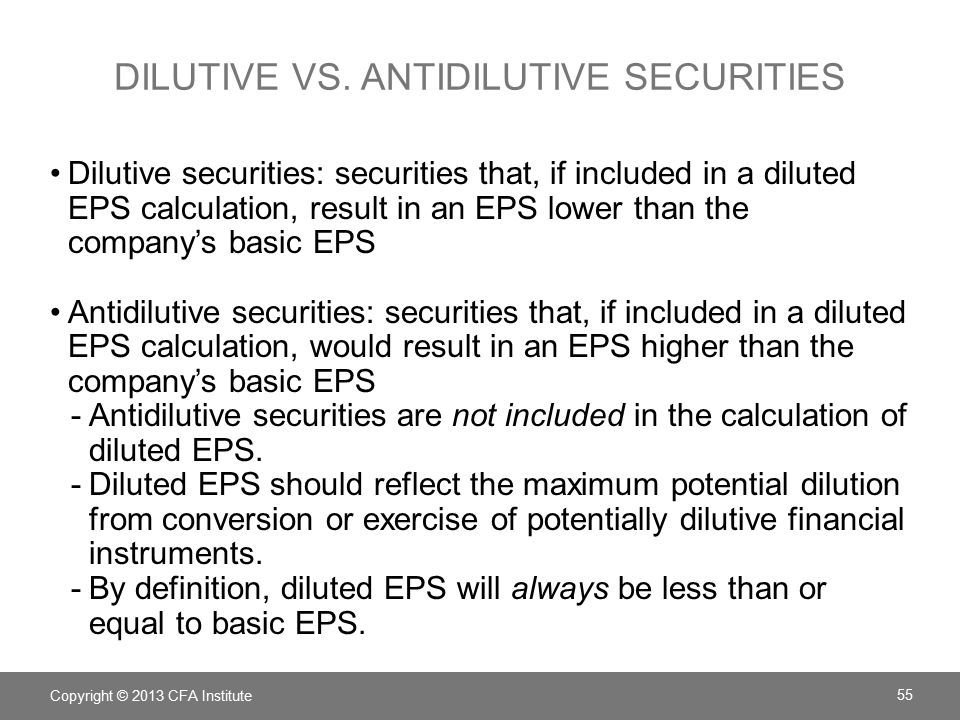 Anti-dilutive stock options calculation