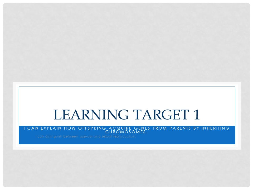 Learning Target 1 I can explain how offspring acquire genes from parents by inheriting chromosomes.