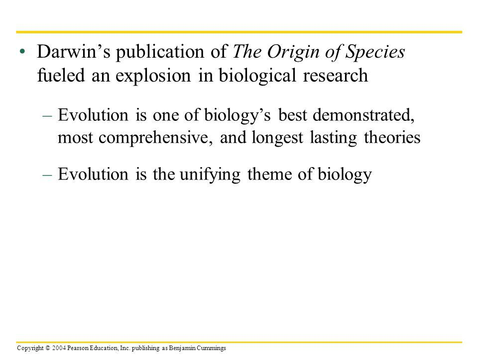 Darwin's publication of The Origin of Species fueled an explosion in biological research