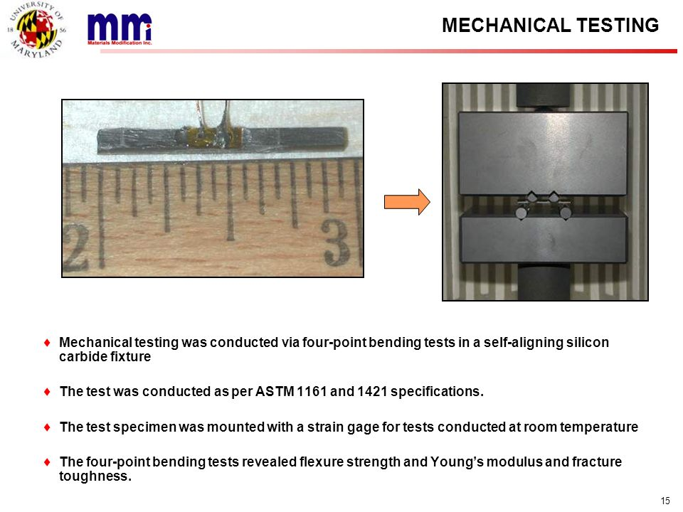 ASTP MMR MECHANICAL TESTING. Mechanical testing was conducted via four-point bending tests in a self-aligning silicon carbide fixture.