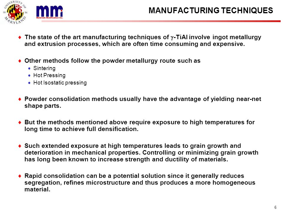 MANUFACTURING TECHNIQUES
