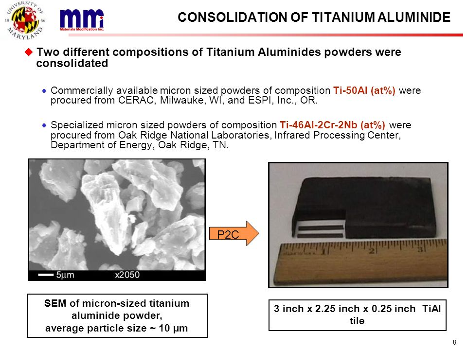CONSOLIDATION OF TITANIUM ALUMINIDE