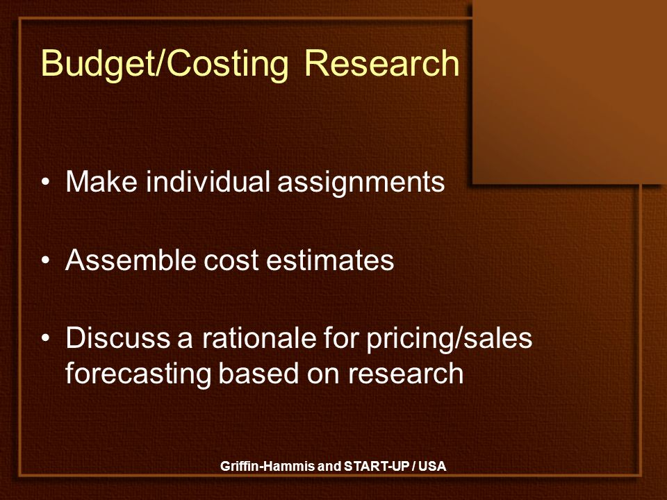Budget/Costing Research