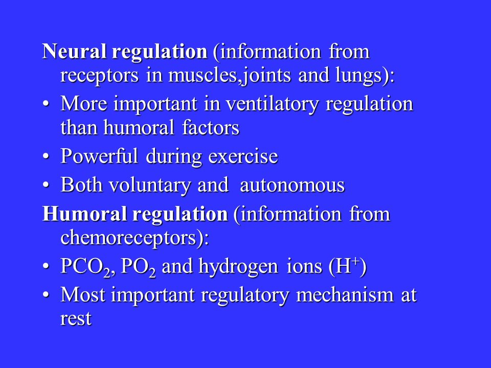 Neural regulation (information from receptors in muscles,joints and lungs):