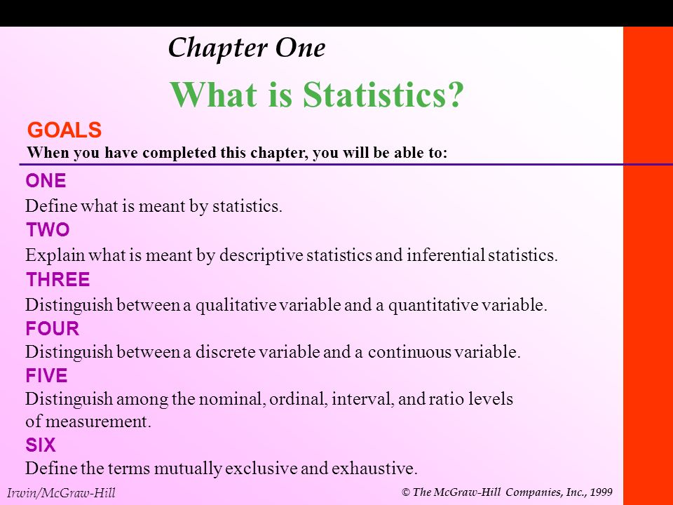 What is Statistics Chapter One GOALS ONE