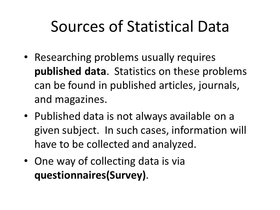 Sources of Statistical Data