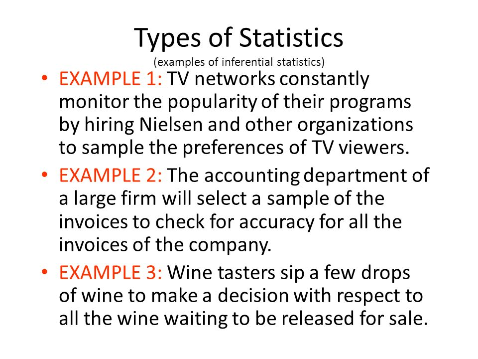 Types of Statistics (examples of inferential statistics)