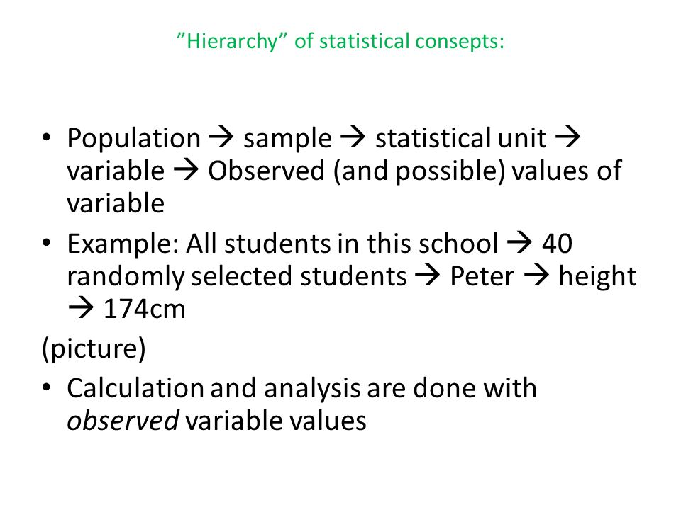Hierarchy of statistical consepts: