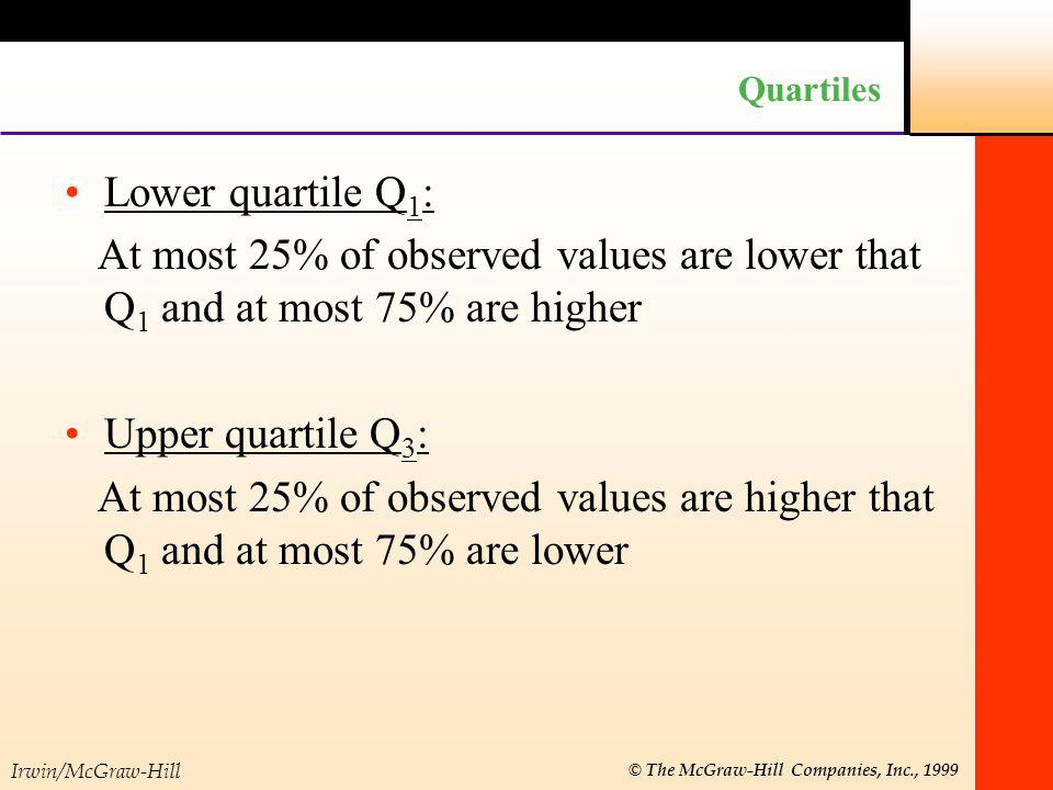 Quartiles Lower quartile Q1: At most 25% of observed values are lower that Q1 and at most 75% are higher.
