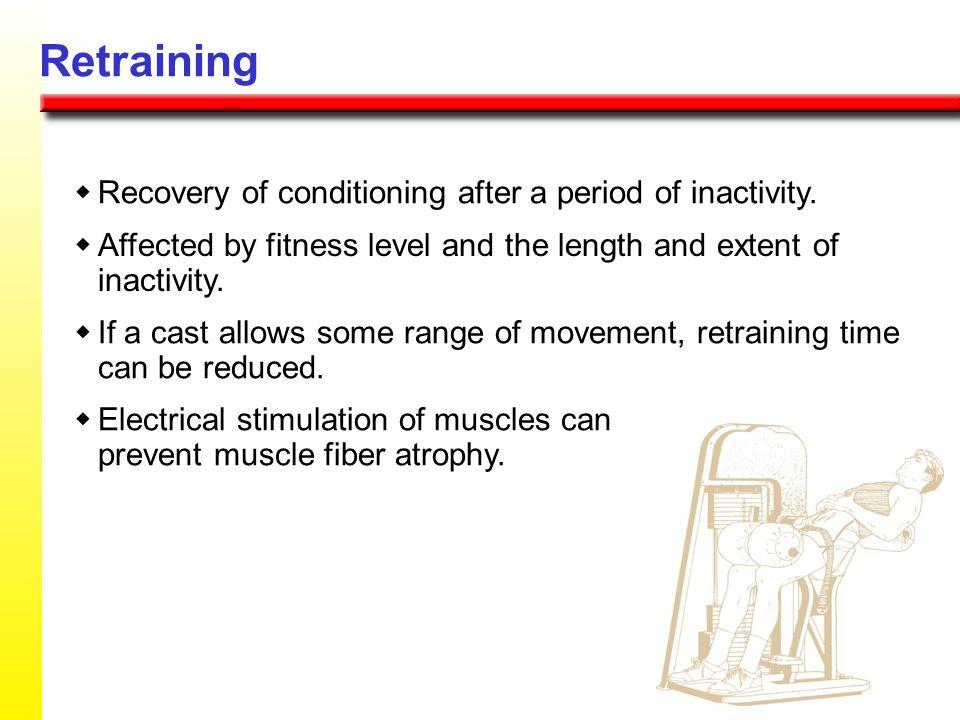 Retraining w Recovery of conditioning after a period of inactivity.