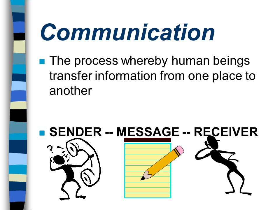 Communication The process whereby human beings transfer information from one place to another.