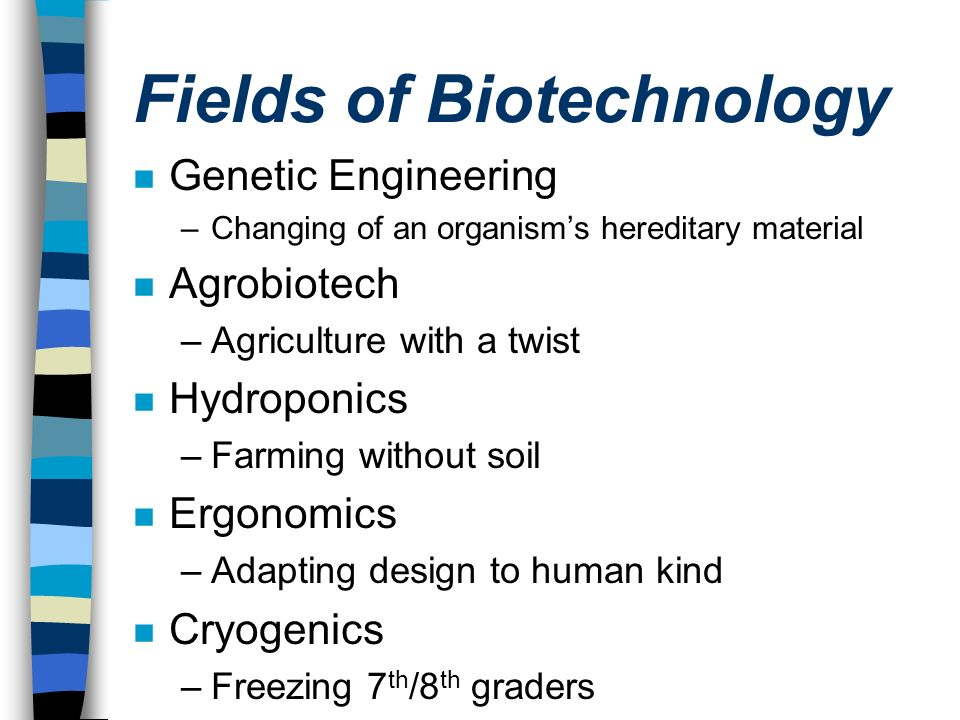 Fields of Biotechnology