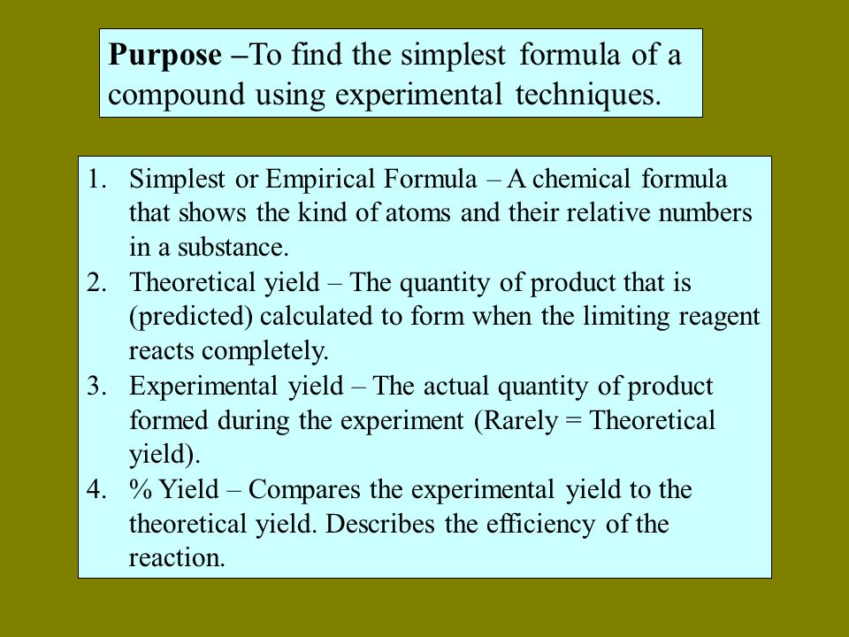 experimental determination of the formula of Purpose in this experiment, you will react a carefully determined amount of tin  with excess nitric acid and calculate the mole ratio of tin and oxygen in the  product.