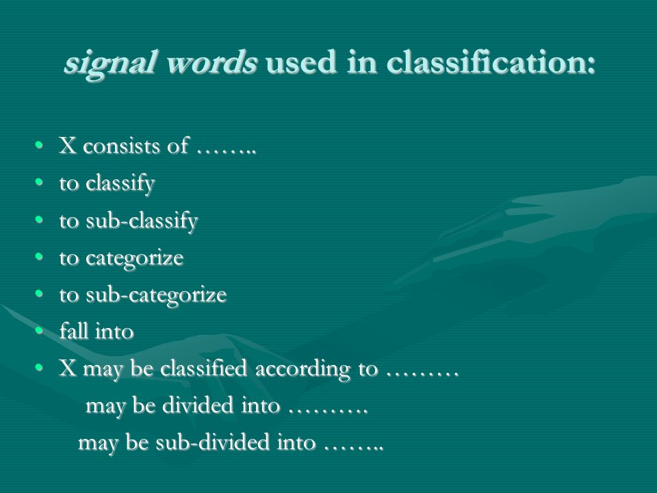 signal words used in classification: