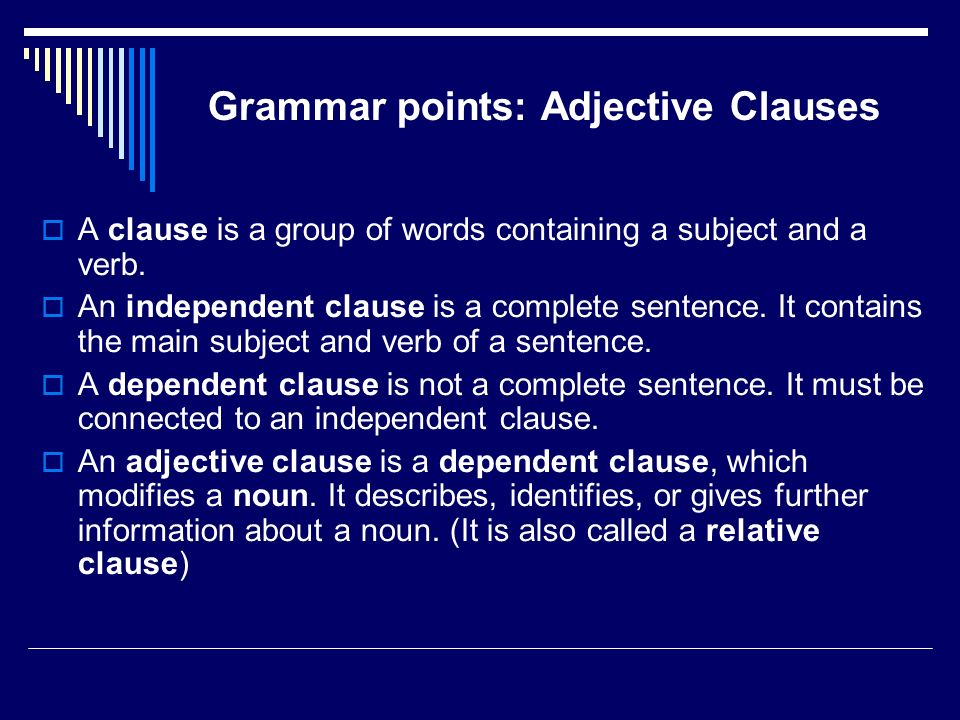 Grammar points: Adjective Clauses