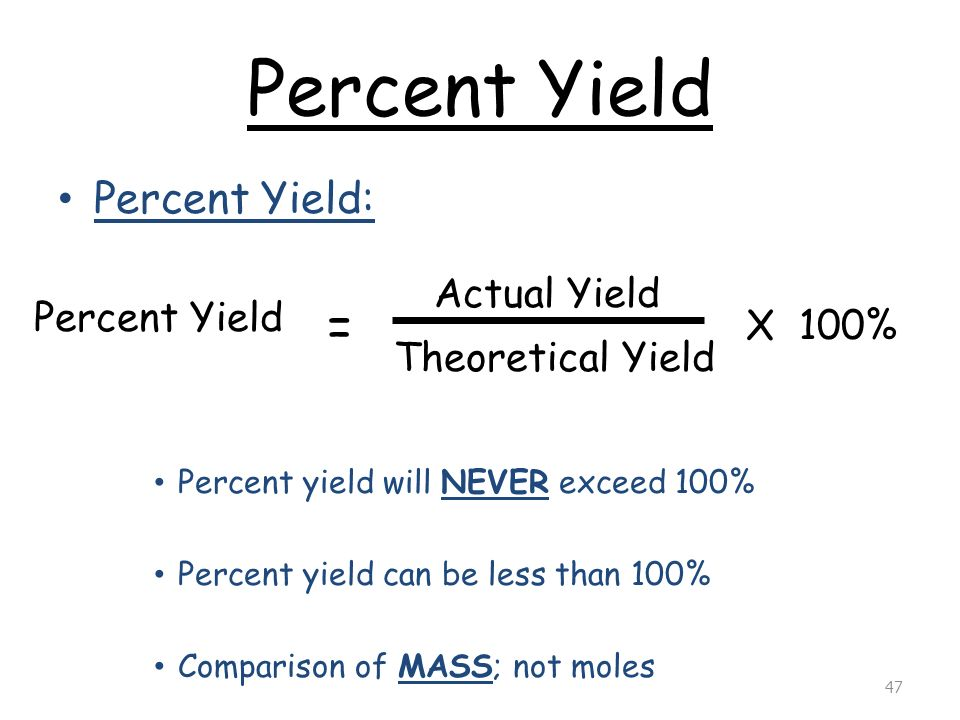 percent yeild lab essay example Lab: stoichiometry  for example, if stoichiometry predicts that the reaction will produce 432 g but the lab measurement is 397 g then the percent yield is .