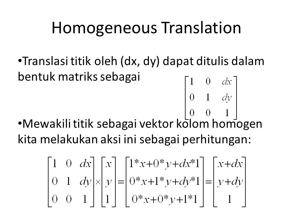 Homogeneous Translation