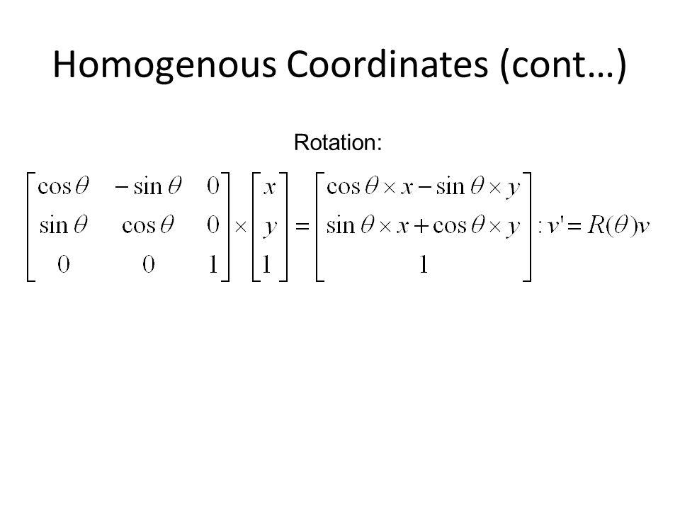 Homogenous Coordinates (cont…)