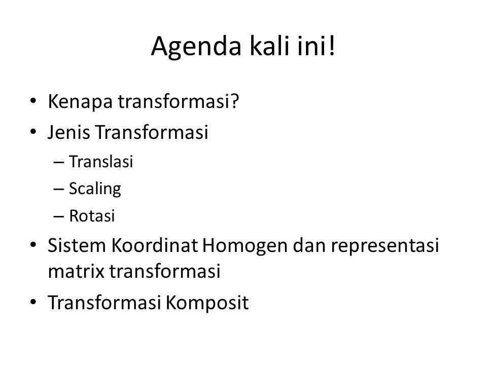 Agenda kali ini! Kenapa transformasi Jenis Transformasi